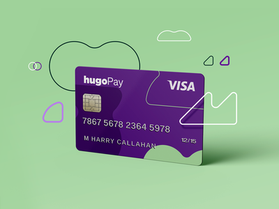 hugoPay   Payment Card payment card design logo debit card credit card vector design branding payment minimal payment card card fintech finance