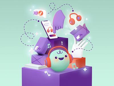 hugoShop app character artwork branding character design 3d illustration art illustration online shop delivery packages ecommerce hugo shop