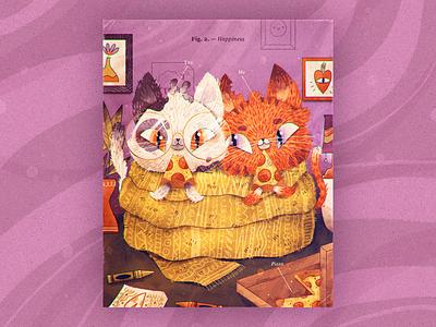 Happiness love couple present gift pizza art handmade character design artwork character illustration cats children illustration cat