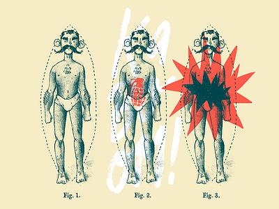 Kaboom! art bomb explosion anatomic vintage grenade illustration branding cochebomba