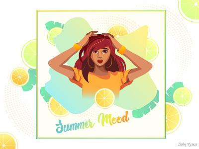 Summer Mood girl summertime summer cartoon charachter cartoon character vector artwork vector illustration adobe illustrator