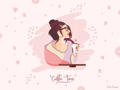 Coffee Time girl coffee charachter picture vector artwork vector illustration adobe illustrator