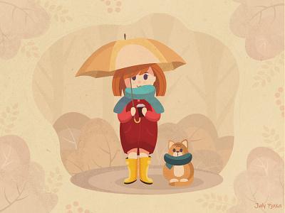 Sweet autumn autumn girl cat cartoon character cartoon picture vector vector artwork illustration adobe illustrator