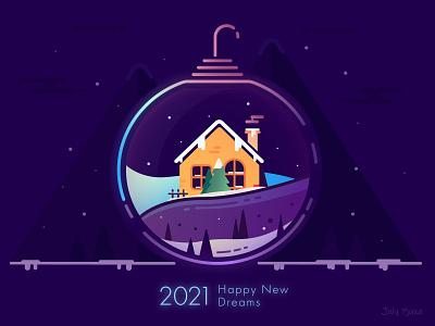 Happy New Dream 2021 julypjuxa christmas 2021 happy new dream happy new year adobe illustrator illustration vector artwork vector