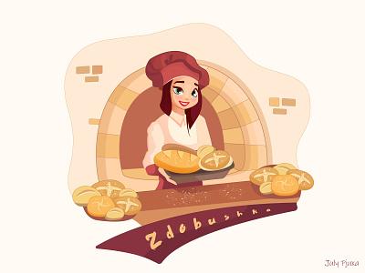 Zdobushka julypjuxa bread baker bakery picture charachter adobe illustrator illustration vector artwork vector