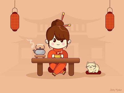Tea time girl chibistyle julypjuxa chibi tea charachter adobe illustrator illustration vector artwork vector