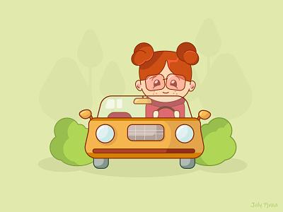 Lady driver julypjuxa chibistyle chibi ladydriver driver girl lady charachter adobe illustrator illustration vector artwork vector