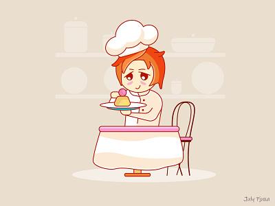 Pastry Chef chibistyle chibi julypjuxa cake cook pastrychef charachter adobe illustrator illustration vector artwork vector