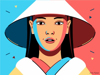 Vietnamese girl 👩🦰👘 vietnamese girl julypjuxa contraststyle contrast outlinestyle outline charachter adobe illustrator illustration vector artwork vector