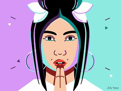 Thai girl julypjuxa outlinestyle outline contraststyle contrast thaigirl thai girl charachter adobe illustrator illustration vector artwork vector