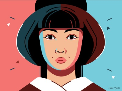 Japanese girl 👩🦰👘 julypjuxa contraststyle contrast outlinestyle outline girl japanesegirl japanese charachter adobe illustrator illustration vector artwork vector