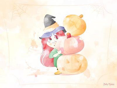 Preparation for the holiday 🎃🎉🎁🧸🎀 julypjuxa octoberholiday autumn holiday witch halloween pumpkin charachter adobe illustrator illustration vector artwork vector