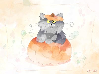 Pumpkin cat 😺🎃 julypjuxa autumn holiday cat pumpkin halloween charachter adobe illustrator illustration vector artwork vector