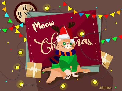 Meow Christmas meow christmas cat food art cartoon cartoon character vector vector artwork illustration adobe illustrator