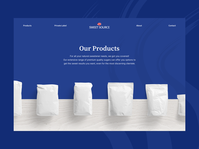 Sweet Source Product Page clean design minimal branding hero section desserts sugar products page products