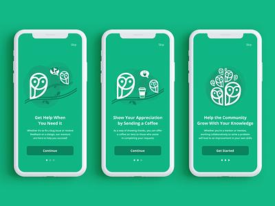 Protégé Onboarding Screens onboarding ui onboarding screens onboarding mentoring mentor illustration clean design branding app concept app