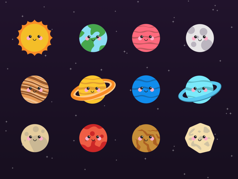 Planet Characters design illustration galaxy character space planet