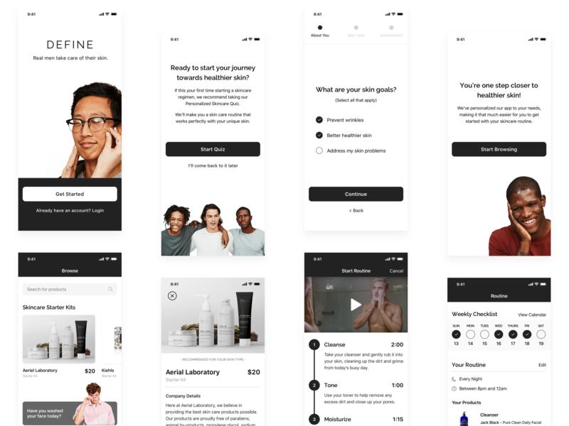Define Skincare App branding ui clean minimal app concept app design ui design uidesign skin care skincare