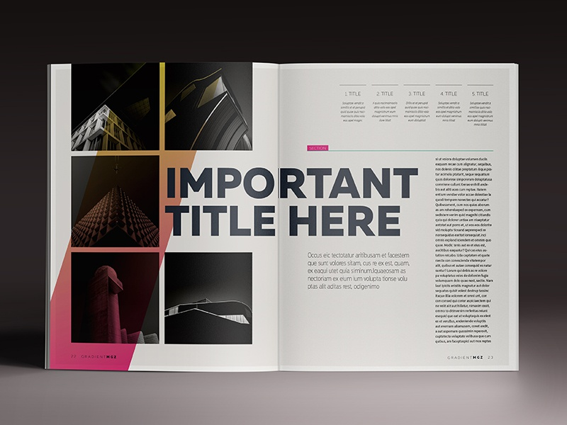 gradient magazine indesign template by luuqas design dribbble. Black Bedroom Furniture Sets. Home Design Ideas