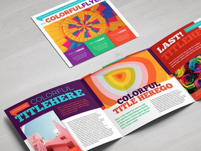 Colorful Square Brochure flyer trifold print style fun child happy joy colorful template brochure square
