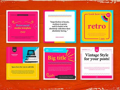 Retro Social Media Pack Template styles eighties nineties illlustrator photoshop flyer ads facebook instagram style colorful hippy vintage template socialmedia social retro
