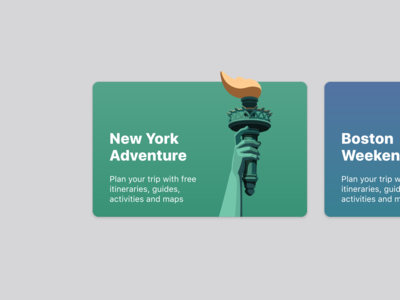 Travel app cards concept