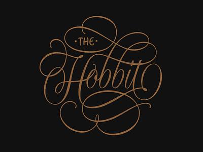 The Hobbit Lettering book cover design book cover script lettering black gold ipad pro procreate flourishes fantasy the hobbit lettering hand lettering