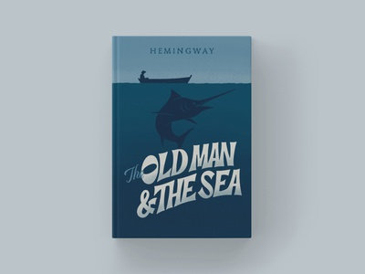 The Old Man and The Sea - Cover Redesign typography type retro vintage marlin book cover design book cover ipad pro procreate illustration lettering hand lettering