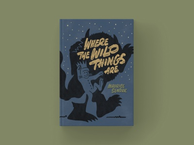 Where the Wild Things Are - Cover Redesign typography type classic book cover design book cover texture illustration ipad pro procreate lettering hand lettering