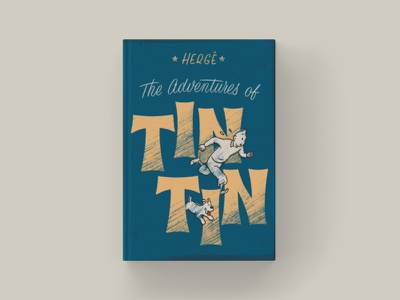 Tintin - Cover Redesign typography type iconic sketch script lettering texture ipad pro procreate comic tintin classic book cover design book cover illustration lettering hand lettering