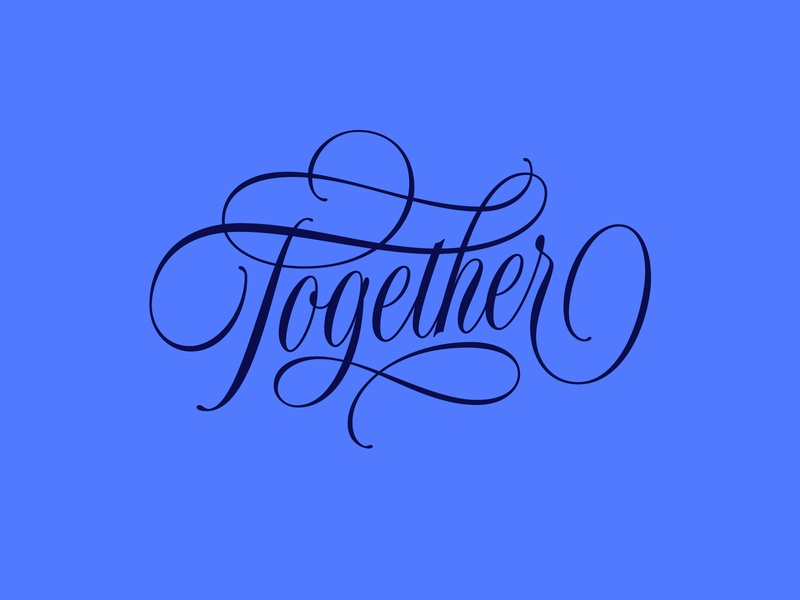 Together together challenge typography type flourish script lettering together bezier curves adobe illustrator vector lettering hand lettering