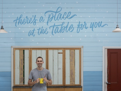 'A Place at the Table' Complete Mural welcome pattern typography type community paint mural painting muralist mural script lettering lettering hand lettering