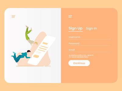 Sign up typography ux ui color human design illustration dailyui 001 dailyui vector