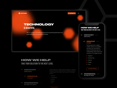 Justcoded website redesign mobile responsive black and white homepage black animation design typography ux ui