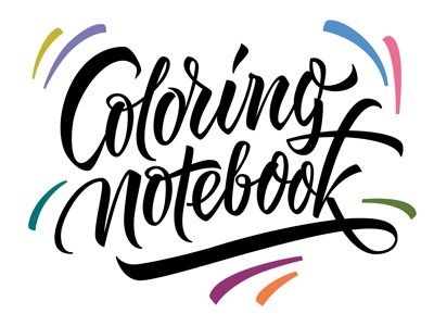 Coloring notebook handtotype handwritting letters vikavita lettering logo