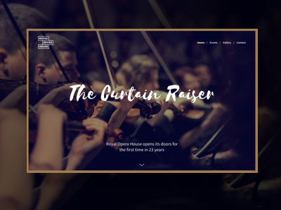 The Royal Opera House landing page music event page opera uxui experience design ux design