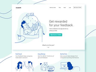 Validate - Platform for User Testing be a tester landingpage validate illustration website design ui design ux design usertesting