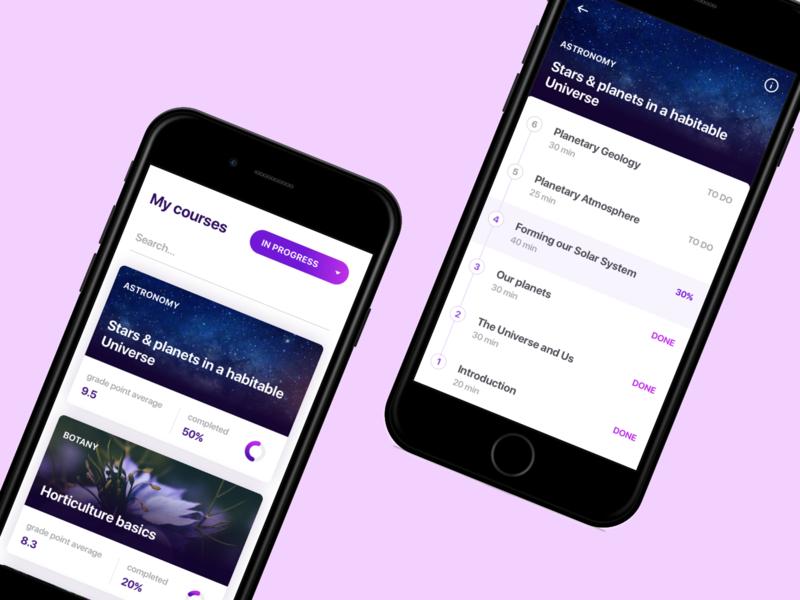 Online courses app by Mila Hvostovskaya on Dribbble