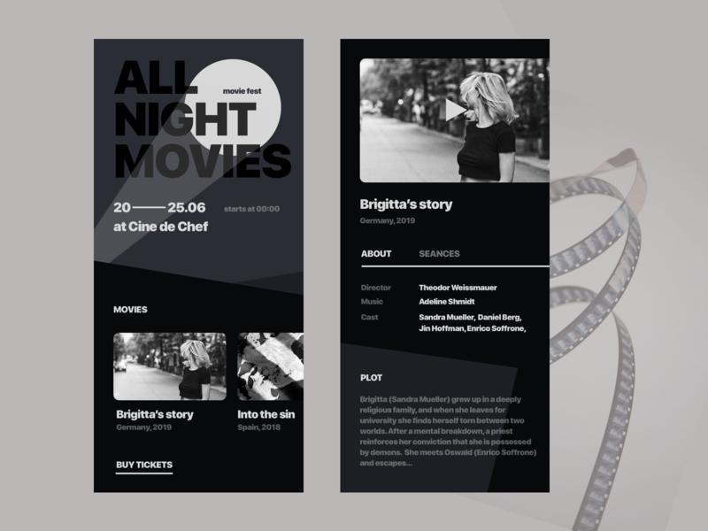 Movie Festival App film art festival cinema movie design mobile dark ui minimalistic app