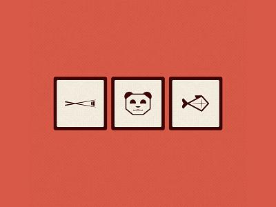 Some OriGummy assets design logo fish chopsticks sushi panda illustration