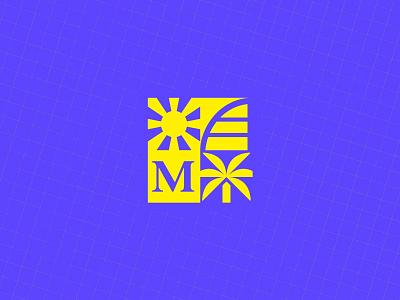 IMO logo crest palm sun badge branding logo crest