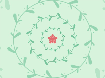 Summer green geometric leaves flower mark abstract icon branding logo