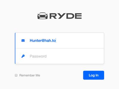 Ryde - Log In
