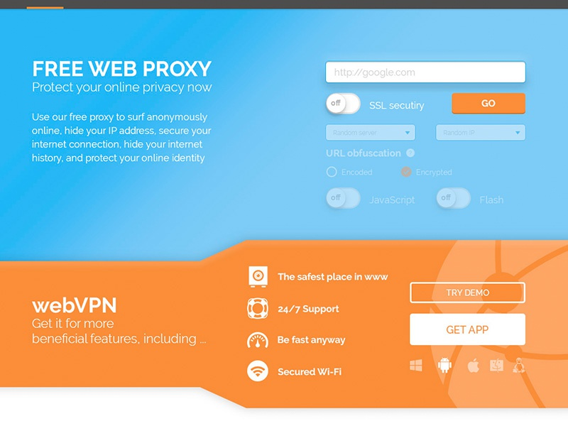 Online Proxy form web flat form proxy vpn colour gradient app