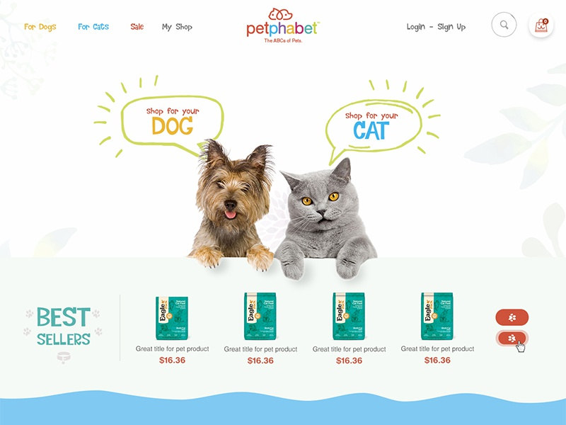 Redesign - Online Store for Pets (Upd) www website shop store ecommerce navigation dog cat pets ux ui bright