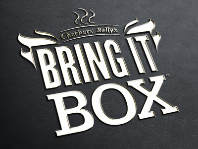 Checkers Bring It Box checkers food logo lettering design photoshop burgers fries black flame box logotype