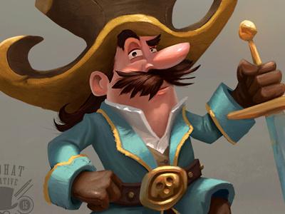 El Pirata photoshop vintage mustache sword hat skull character design character illustration argh pirate