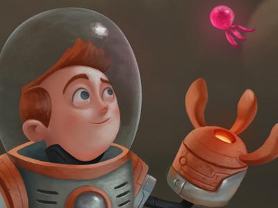 Space Bug Adventure character design moon robot scifi alien jellyfish astronaut steampunk photoshop bug space illustration