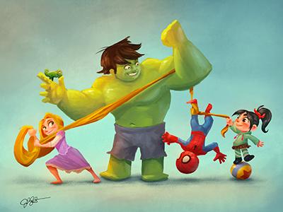 Tangled Buddies character design cartoon cute scifi friends kids hero photoshop princess heroes illustration