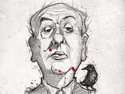 Hitchcock crow horror vintage classic film hitchcock inktober2017 inktober sketch